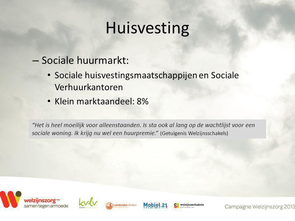 Huisvesting – Sociale huurmarkt: • Sociale huisvestingsmaatschappijen en Sociale Verhuurkantoren • Klein marktaandeel: 8% Het is heel moeilijk voor alleenstaanden.