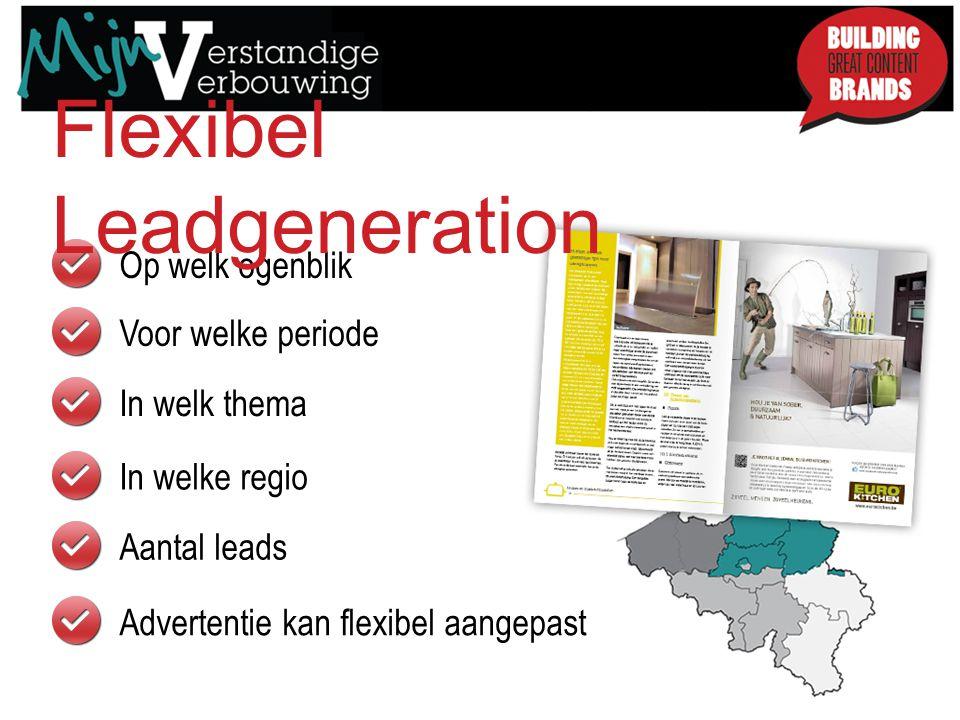 Op welk ogenblik Voor welke periode Flexibel Leadgeneration In welk thema In welke regio Aantal leads Advertentie kan flexibel aangepast