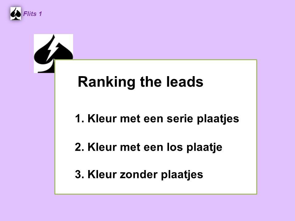 Ranking the leads 1. Kleur met een serie plaatjes 2. Kleur met een los plaatje 3. Kleur zonder plaatjes Flits 1