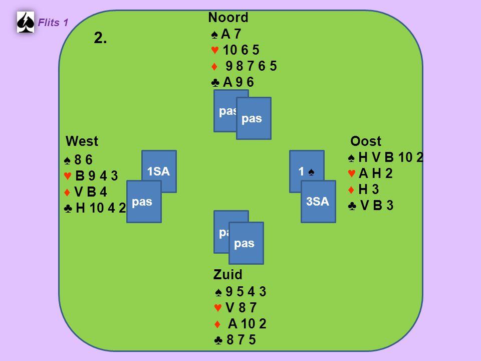 Zuid ♠ 9 5 4 3 ♥ V 8 7 ♦ A 10 2 ♣ 8 7 5 West ♠ 8 6 ♥ B 9 4 3 ♦ V B 4 ♣ H 10 4 2 Noord ♠ A 7 ♥ 10 6 5 ♦ 9 8 7 6 5 ♣ A 9 6 Oost ♠ H V B 10 2 ♥ A H 2 ♦ H