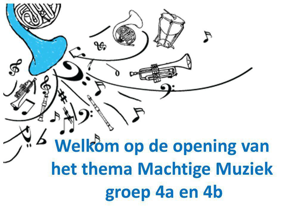 Welkom op de opening van het thema Machtige Muziek groep 4a en 4b