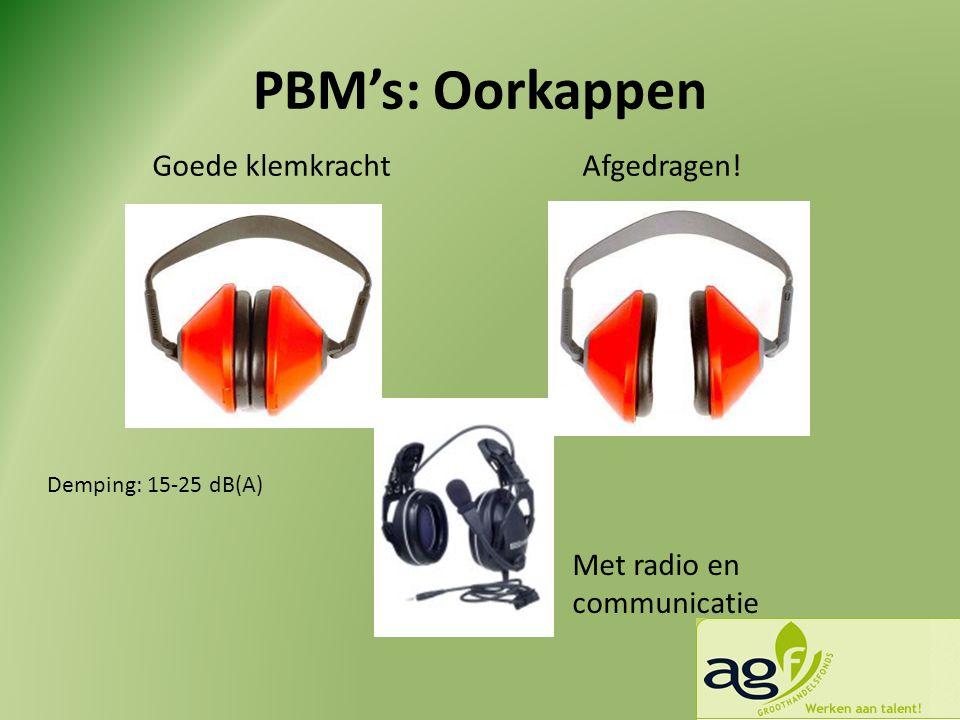 PBM's: Oorkappen Goede klemkrachtAfgedragen! Met radio en communicatie Demping: 15-25 dB(A)