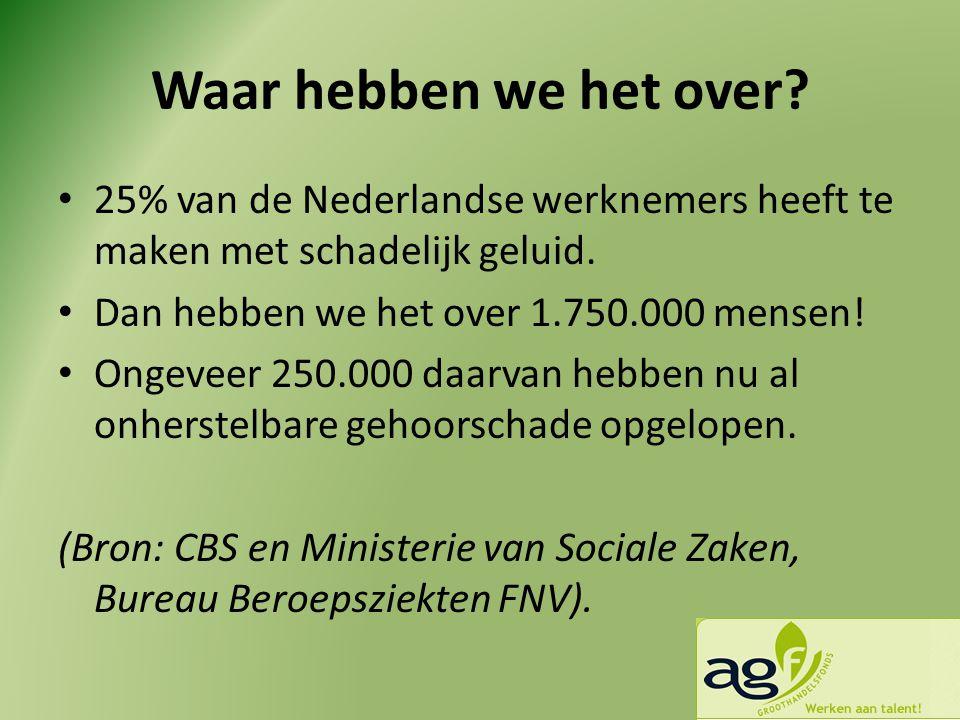 Waar hebben we het over? • 25% van de Nederlandse werknemers heeft te maken met schadelijk geluid. • Dan hebben we het over 1.750.000 mensen! • Ongeve