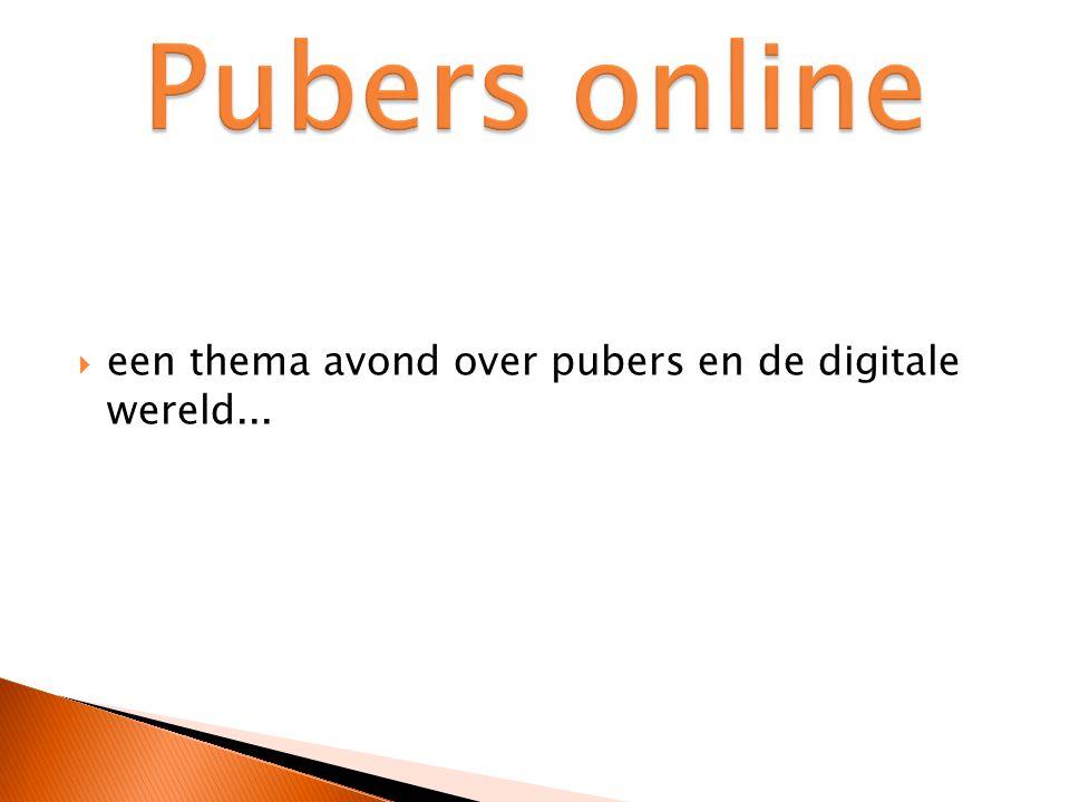  een thema avond over pubers en de digitale wereld...