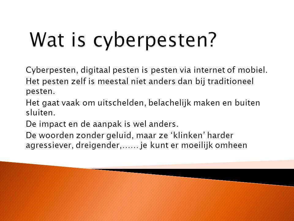 Cyberpesten, digitaal pesten is pesten via internet of mobiel.