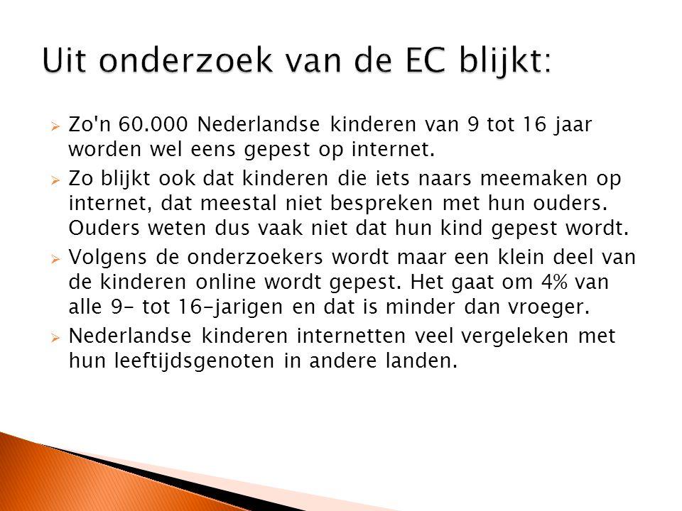  Zo n 60.000 Nederlandse kinderen van 9 tot 16 jaar worden wel eens gepest op internet.