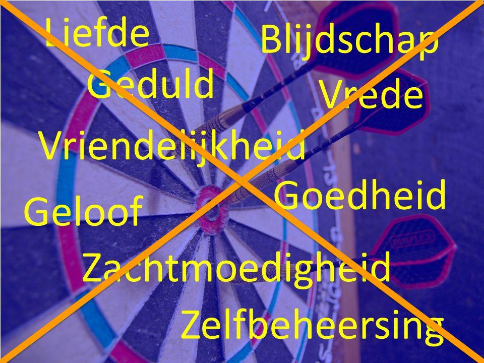 Liefde Vrede Blijdschap Geduld Vriendelijkheid Goedheid Geloof Zachtmoedigheid Zelfbeheersing