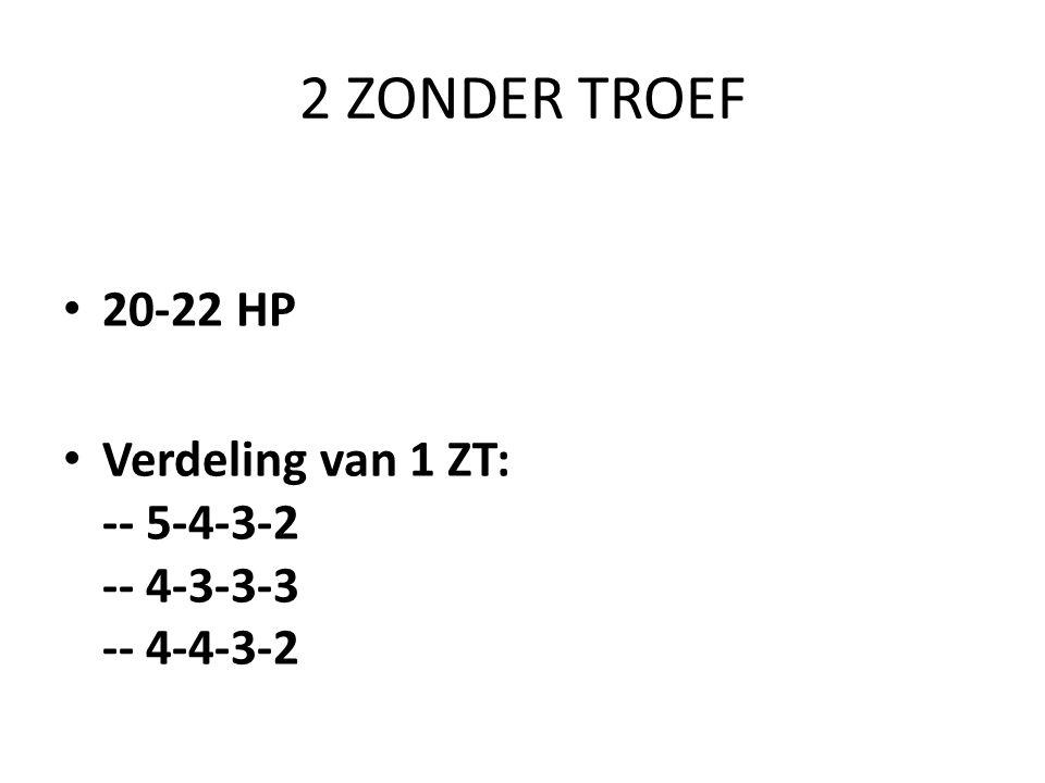 2 ZONDER TROEF • 20-22 HP • Verdeling van 1 ZT: -- 5-4-3-2 -- 4-3-3-3 -- 4-4-3-2
