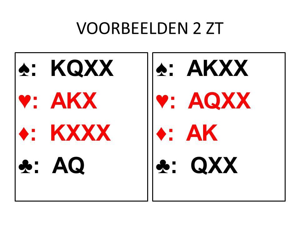 VOORBEELDEN 2 ZT ♠: KQXX ♥: AKX ♦: KXXX ♣: AQ ♠: AKXX ♥: AQXX ♦: AK ♣: QXX