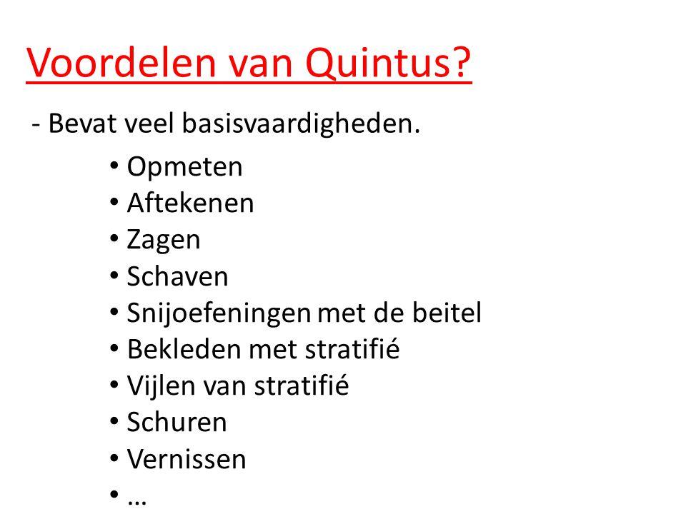 Voordelen van Quintus. - Bevat veel basisvaardigheden.