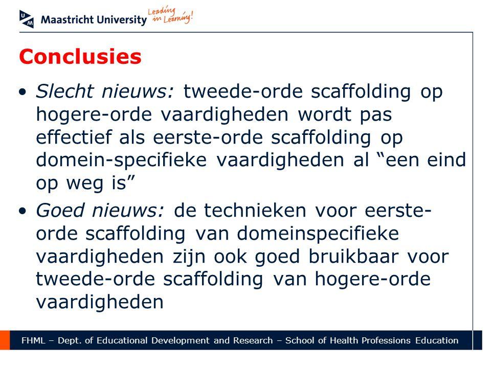 Conclusies •Slecht nieuws: tweede-orde scaffolding op hogere-orde vaardigheden wordt pas effectief als eerste-orde scaffolding op domein-specifieke va