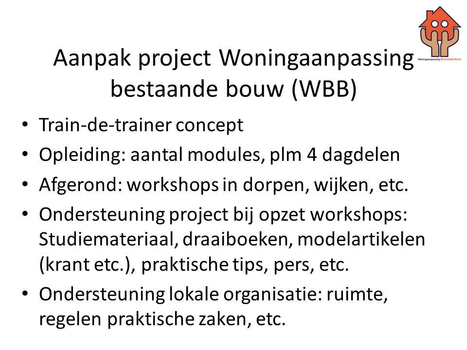 Aanpak project Woningaanpassing bestaande bouw (WBB) • Train-de-trainer concept • Opleiding: aantal modules, plm 4 dagdelen • Afgerond: workshops in d