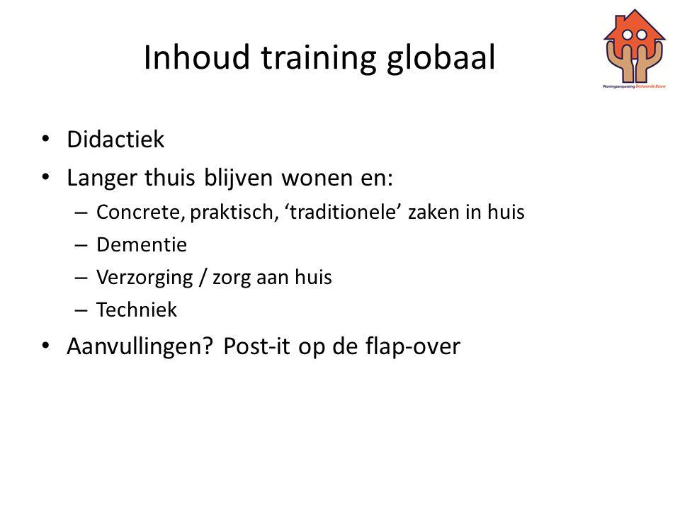 Inhoud training globaal • Didactiek • Langer thuis blijven wonen en: – Concrete, praktisch, 'traditionele' zaken in huis – Dementie – Verzorging / zor