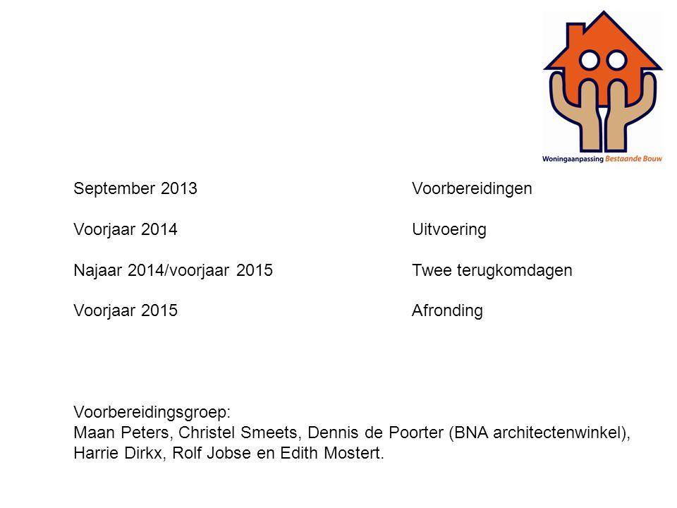 September 2013Voorbereidingen Voorjaar 2014Uitvoering Najaar 2014/voorjaar 2015Twee terugkomdagen Voorjaar 2015Afronding Voorbereidingsgroep: Maan Pet