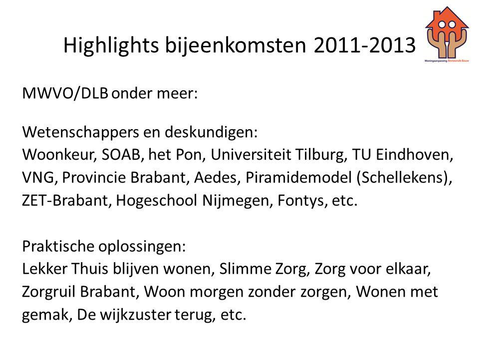Highlights bijeenkomsten 2011-2013 MWVO/DLB onder meer: Wetenschappers en deskundigen: Woonkeur, SOAB, het Pon, Universiteit Tilburg, TU Eindhoven, VN
