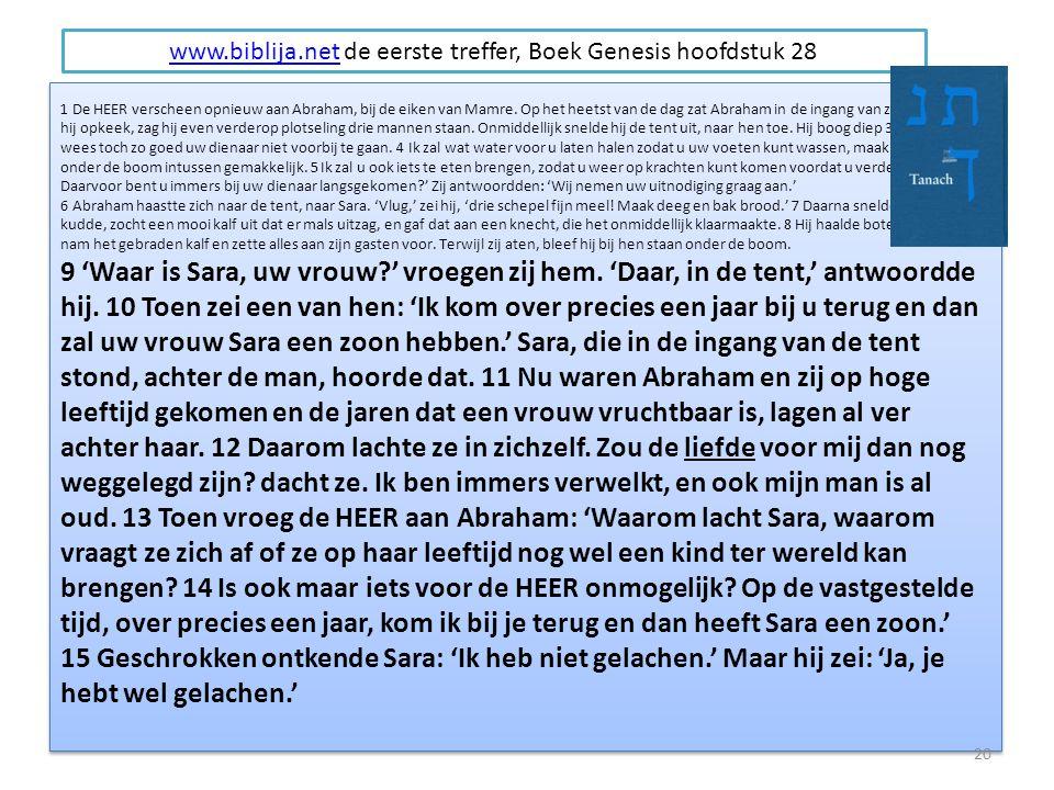 1 De HEER verscheen opnieuw aan Abraham, bij de eiken van Mamre.