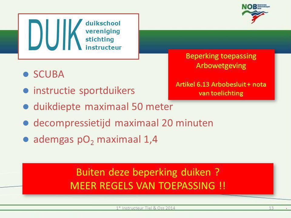 SCUBA  instructie sportduikers  duikdiepte maximaal 50 meter  decompressietijd maximaal 20 minuten  ademgas pO 2 maximaal 1,4 Buiten deze beperk