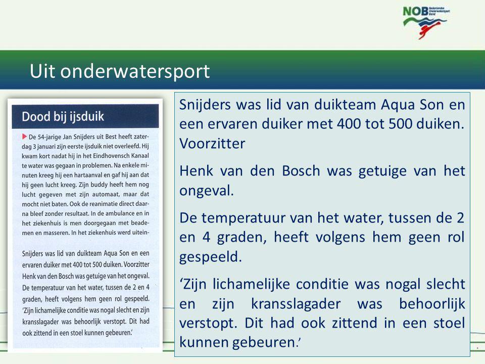 Uit onderwatersport 1* Instructeur Tiel & Oss 201423 Snijders was lid van duikteam Aqua Son en een ervaren duiker met 400 tot 500 duiken. Voorzitter H