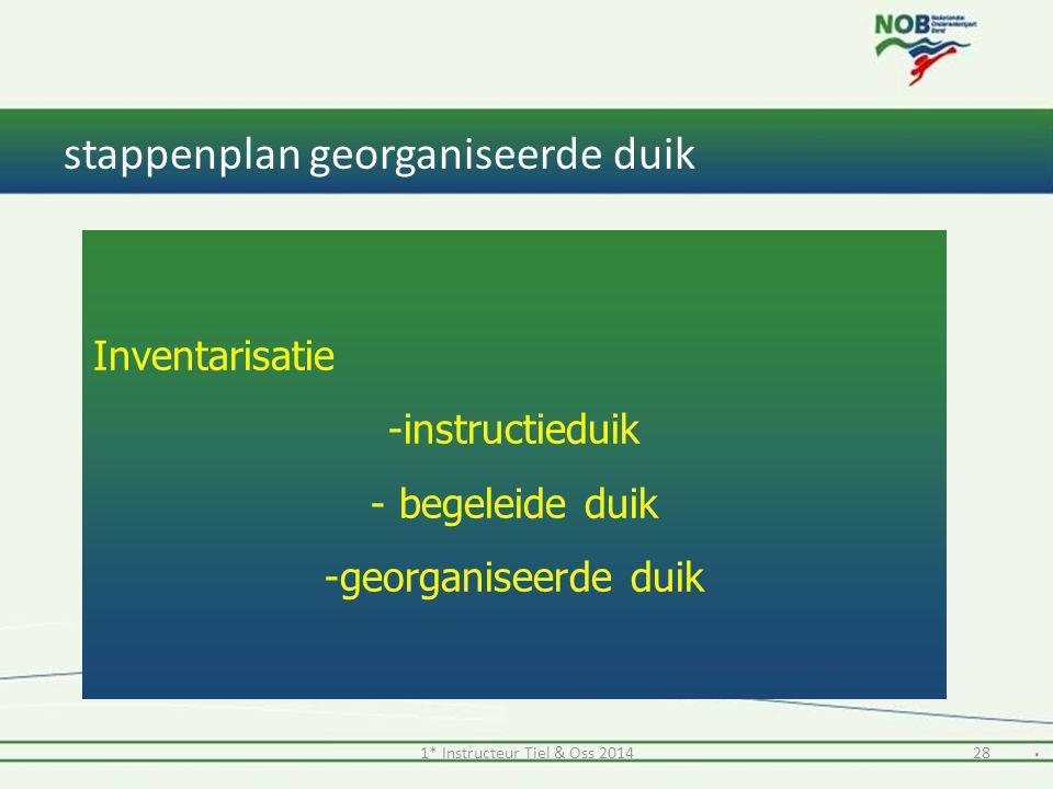 stappenplan georganiseerde duik 1* Instructeur Tiel & Oss 201428 Inventarisatie -instructieduik - begeleide duik -georganiseerde duik