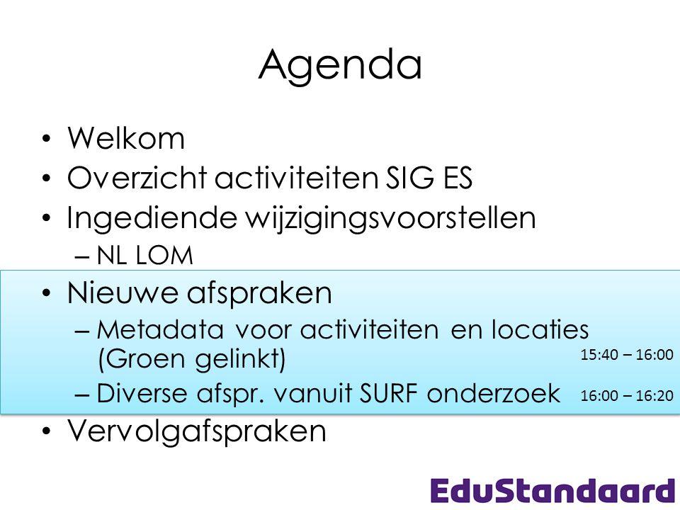 15:40 – 16:00 16:00 – 16:20 15:40 – 16:00 16:00 – 16:20 Agenda • Welkom • Overzicht activiteiten SIG ES • Ingediende wijzigingsvoorstellen – NL LOM •