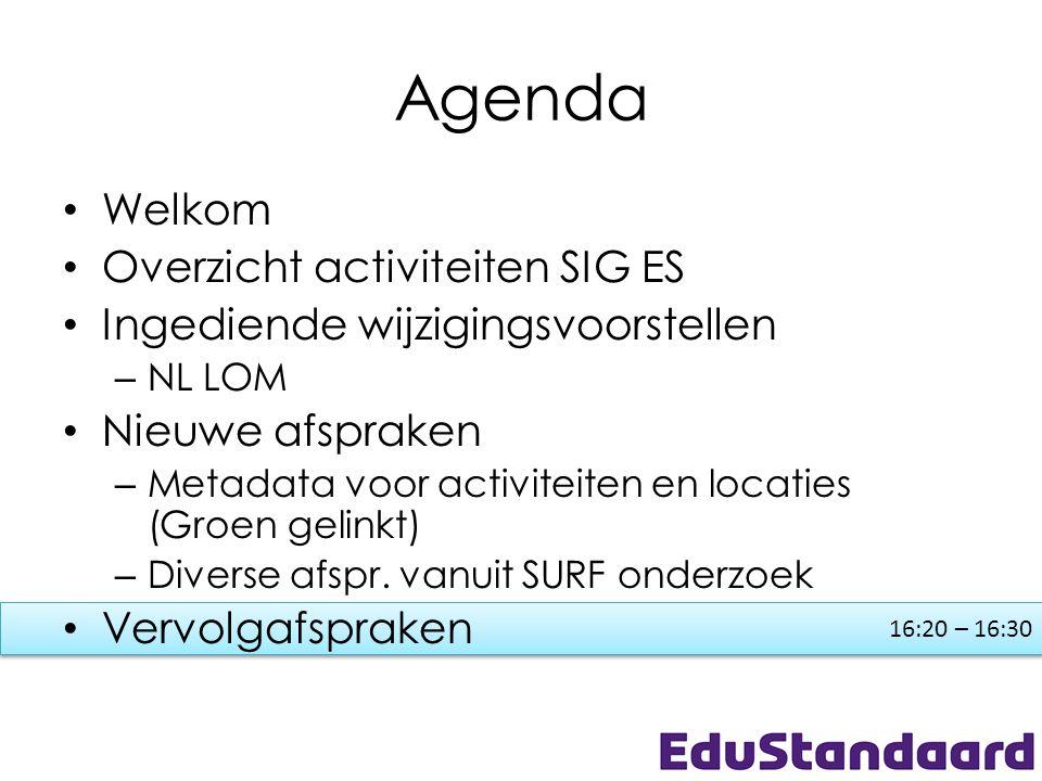 16:20 – 16:30 Agenda • Welkom • Overzicht activiteiten SIG ES • Ingediende wijzigingsvoorstellen – NL LOM • Nieuwe afspraken – Metadata voor activitei