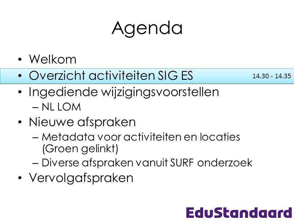 14.30 - 14.35 Agenda • Welkom • Overzicht activiteiten SIG ES • Ingediende wijzigingsvoorstellen – NL LOM • Nieuwe afspraken – Metadata voor activitei