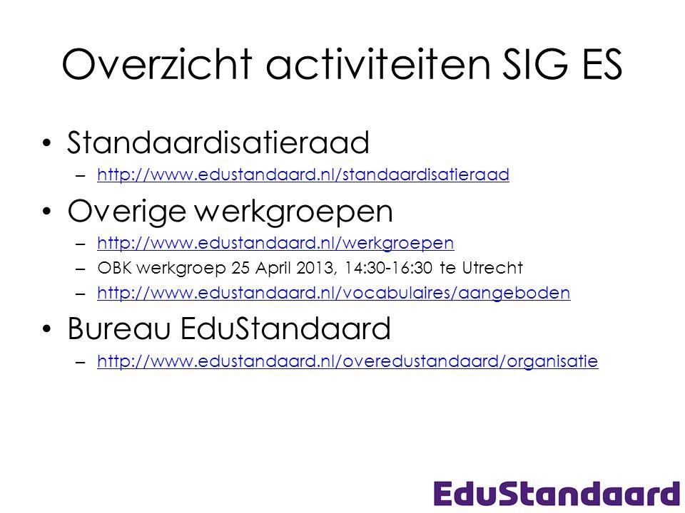 Overzicht activiteiten SIG ES • Standaardisatieraad – http://www.edustandaard.nl/standaardisatieraad http://www.edustandaard.nl/standaardisatieraad •