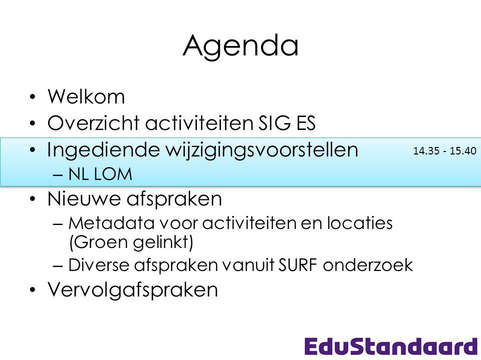 14.35 - 15.40 Agenda • Welkom • Overzicht activiteiten SIG ES • Ingediende wijzigingsvoorstellen – NL LOM • Nieuwe afspraken – Metadata voor activitei
