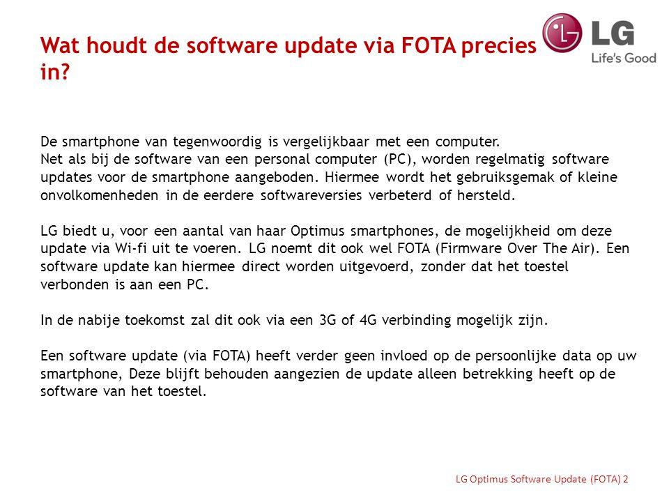 Hoe functioneert FOTA? LG Optimus Software Update (FOTA) 3