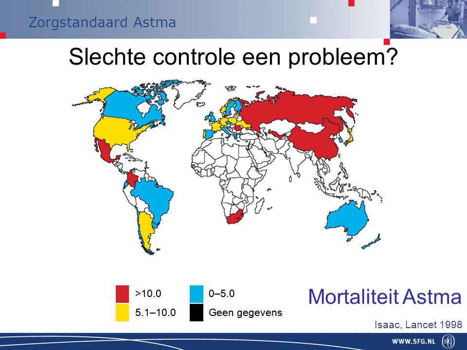 Zorgstandaard Astma Slechte controle een probleem? Countries shaded according to case fatality rate (per 100,000 asthmatics) >10.0 5.1–10.0 0–5.0 Geen