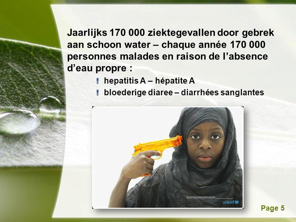 Powerpoint TemplatesPage 5 Jaarlijks 170 000 ziektegevallen door gebrek aan schoon water – chaque année 170 000 personnes malades en raison de l'absence d'eau propre : hepatitis A – hépatite A bloederige diaree – diarrhées sanglantes