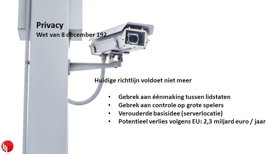 Privacy Wet van 8 december 192 Huidige richtlijn voldoet niet meer • Gebrek aan éénmaking tussen lidstaten • Gebrek aan controle op grote spelers • Verouderde basisidee (serverlocatie) • Potentieel verlies volgens EU: 2,3 miljard euro / jaar
