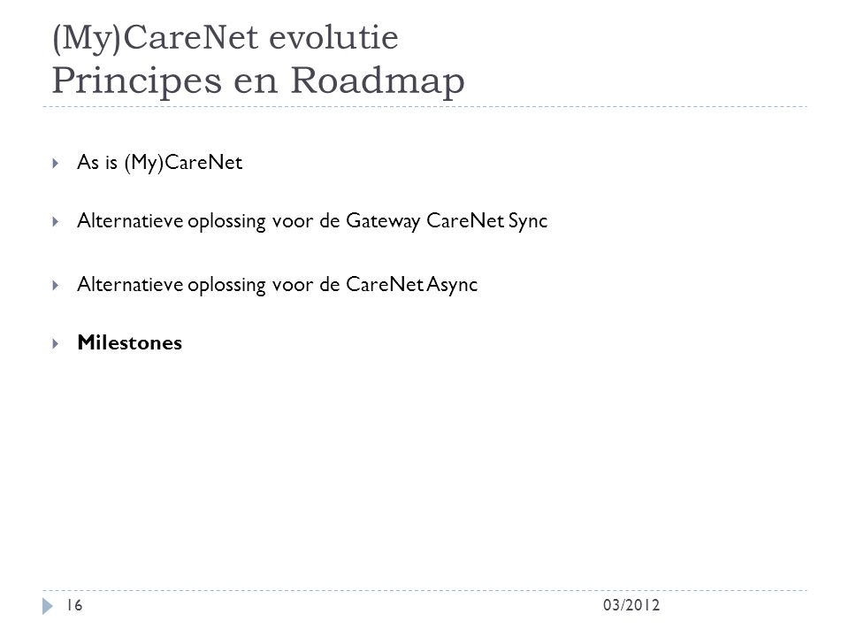 (My)CareNet evolutie Principes en Roadmap 03/201216  As is (My)CareNet  Alternatieve oplossing voor de Gateway CareNet Sync  Alternatieve oplossing