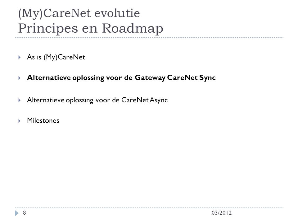(My)CareNet evolutie Principes en Roadmap 03/20128  As is (My)CareNet  Alternatieve oplossing voor de Gateway CareNet Sync  Alternatieve oplossing