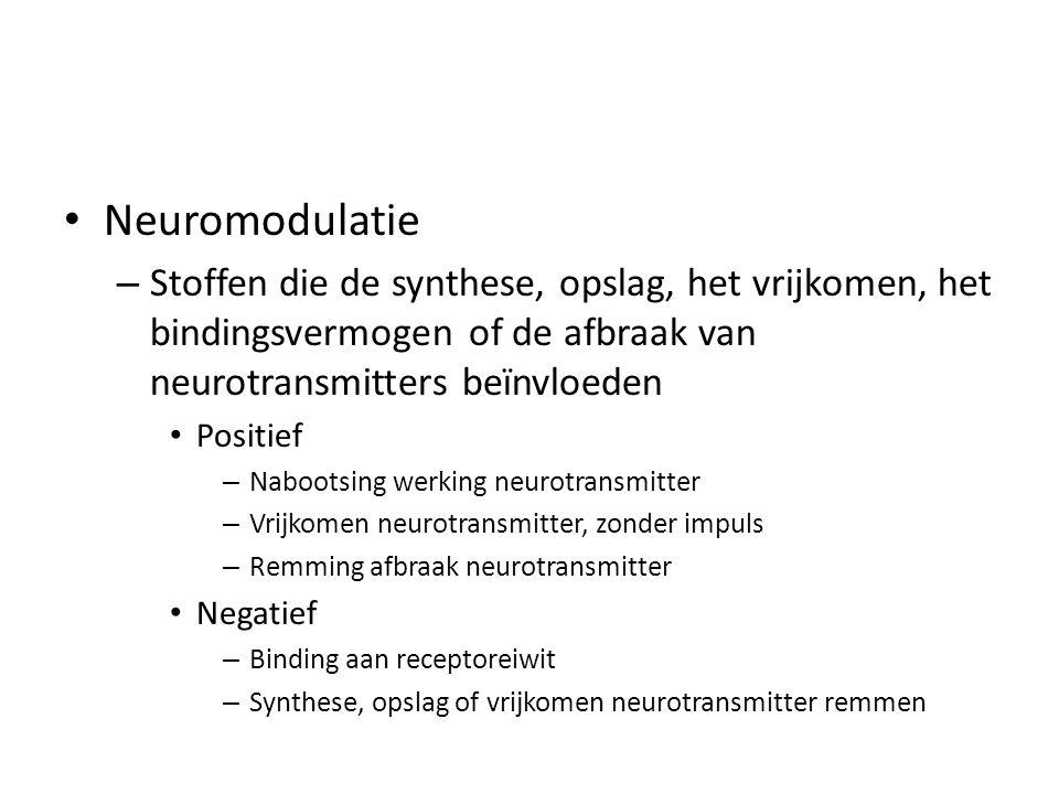 • Neuromodulatie – Stoffen die de synthese, opslag, het vrijkomen, het bindingsvermogen of de afbraak van neurotransmitters beïnvloeden • Positief – Nabootsing werking neurotransmitter – Vrijkomen neurotransmitter, zonder impuls – Remming afbraak neurotransmitter • Negatief – Binding aan receptoreiwit – Synthese, opslag of vrijkomen neurotransmitter remmen