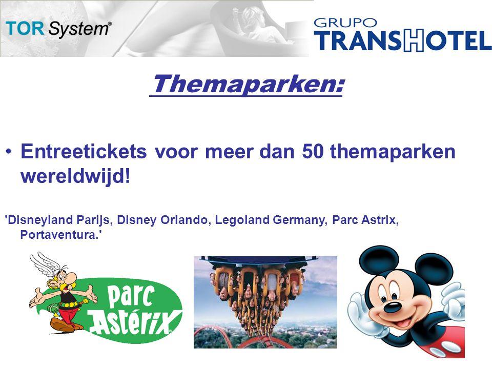 Themaparken: •Entreetickets voor meer dan 50 themaparken wereldwijd.
