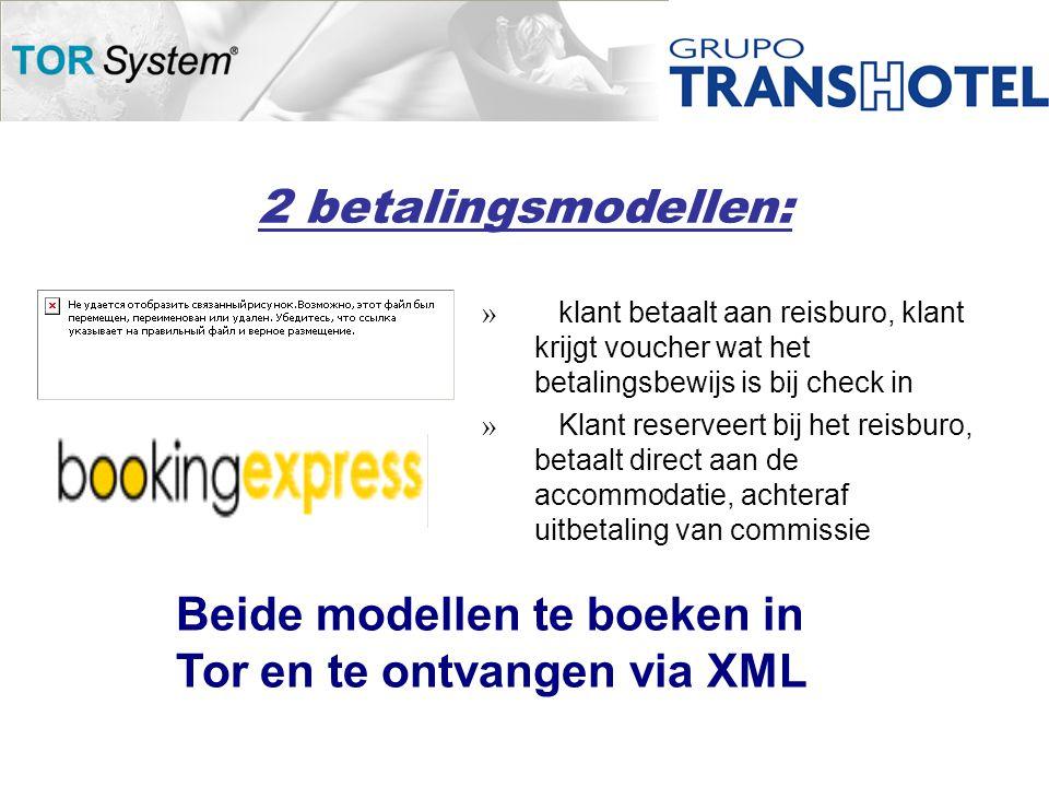 2 betalingsmodellen: » klant betaalt aan reisburo, klant krijgt voucher wat het betalingsbewijs is bij check in » Klant reserveert bij het reisburo, betaalt direct aan de accommodatie, achteraf uitbetaling van commissie Beide modellen te boeken in Tor en te ontvangen via XML