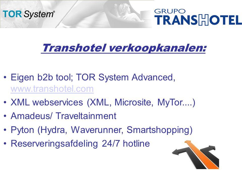 Transhotel verkoopkanalen: •Eigen b2b tool; TOR System Advanced, www.transhotel.com www.transhotel.com •XML webservices (XML, Microsite, MyTor....) •Amadeus/ Traveltainment •Pyton (Hydra, Waverunner, Smartshopping) •Reserveringsafdeling 24/7 hotline