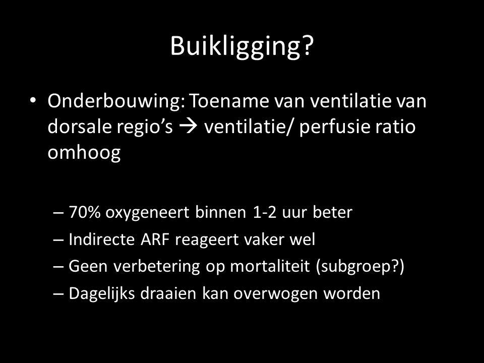 Buikligging? • Onderbouwing: Toename van ventilatie van dorsale regio's  ventilatie/ perfusie ratio omhoog – 70% oxygeneert binnen 1-2 uur beter – In