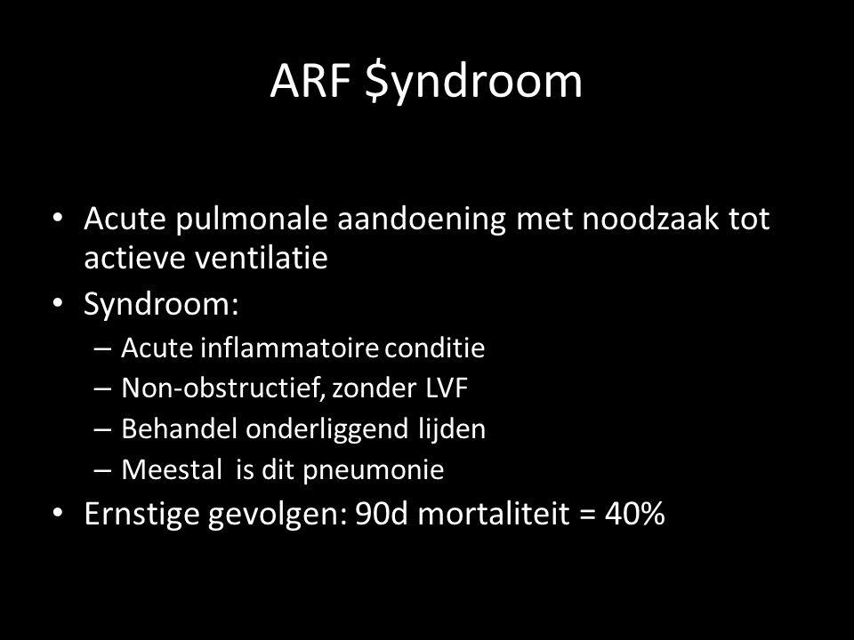 ARF $yndroom • Acute pulmonale aandoening met noodzaak tot actieve ventilatie • Syndroom: – Acute inflammatoire conditie – Non-obstructief, zonder LVF