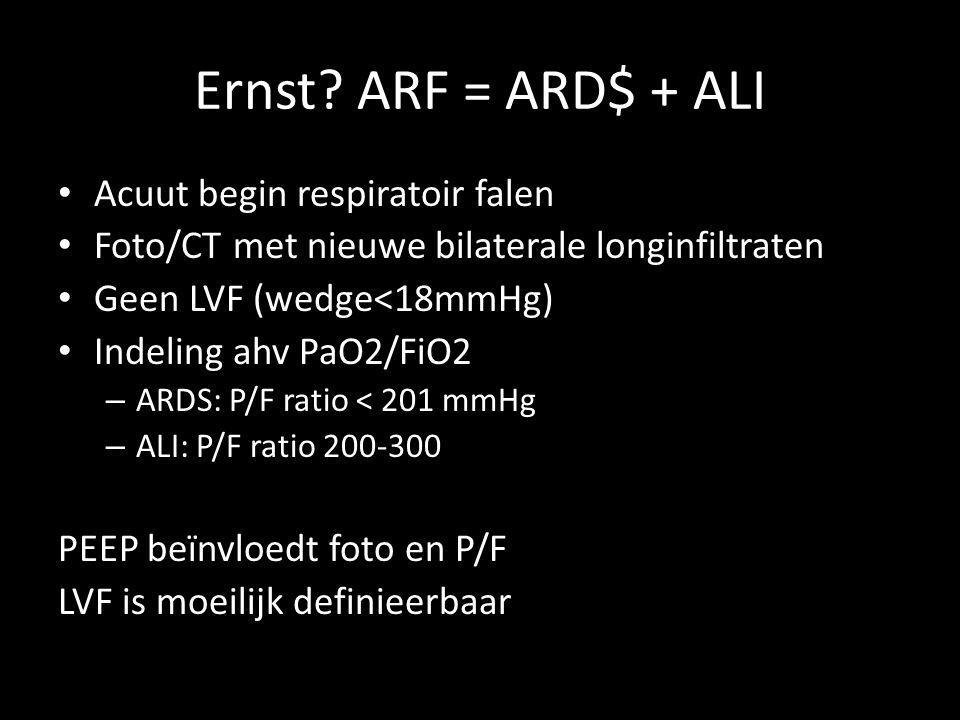 Ernst? ARF = ARD$ + ALI • Acuut begin respiratoir falen • Foto/CT met nieuwe bilaterale longinfiltraten • Geen LVF (wedge<18mmHg) • Indeling ahv PaO2/