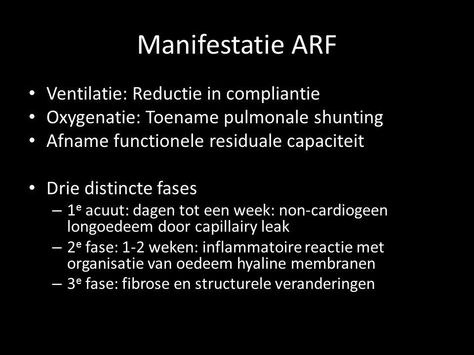 Manifestatie ARF • Ventilatie: Reductie in compliantie • Oxygenatie: Toename pulmonale shunting • Afname functionele residuale capaciteit • Drie disti
