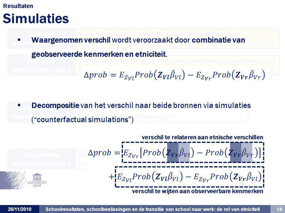 Schoolresultaten, schoolbeslissingen en de transitie van school naar werk: de rol van etniciteit 14 26/11/2010 Verschillen in onderwijsuitkomsten te v