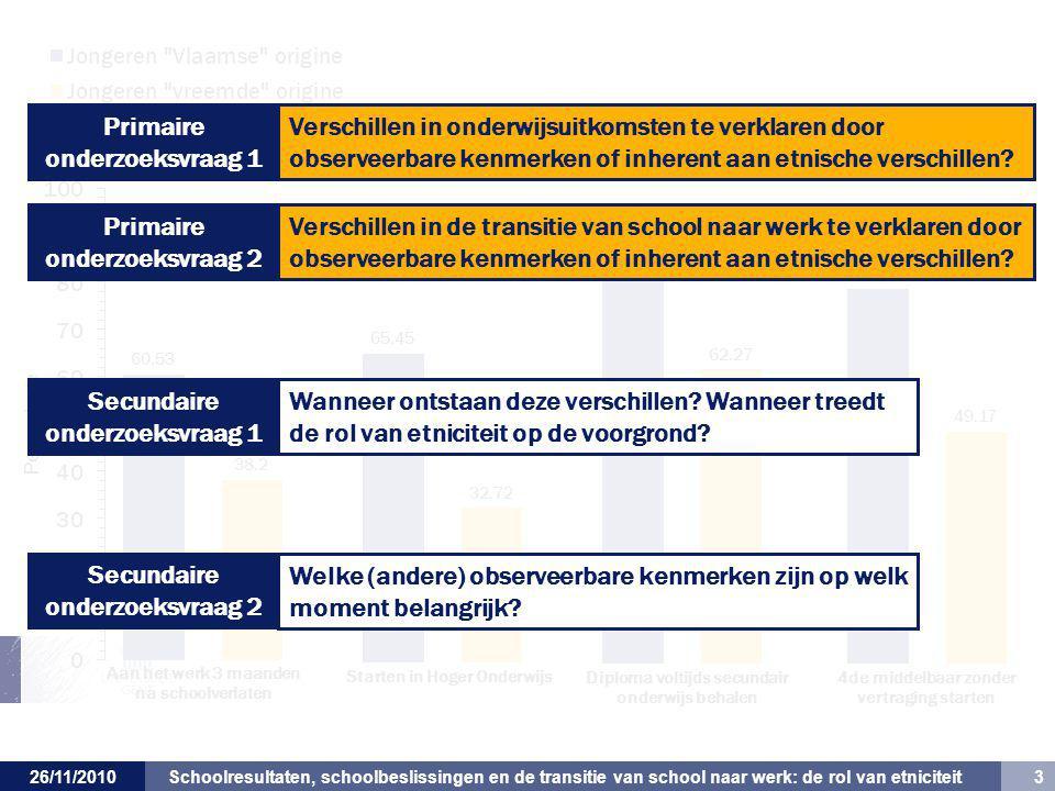 Schoolresultaten, schoolbeslissingen en de transitie van school naar werk: de rol van etniciteit 3 26/11/2010 Verschillen in onderwijsuitkomsten te verklaren door observeerbare kenmerken of inherent aan etnische verschillen.