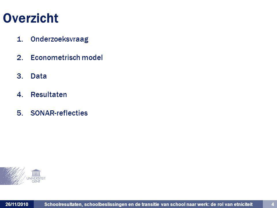 Schoolresultaten, schoolbeslissingen en de transitie van school naar werk: de rol van etniciteit 4 26/11/2010 Overzicht 1.Onderzoeksvraag 2.Econometrisch model 3.Data 4.Resultaten 5.SONAR-reflecties