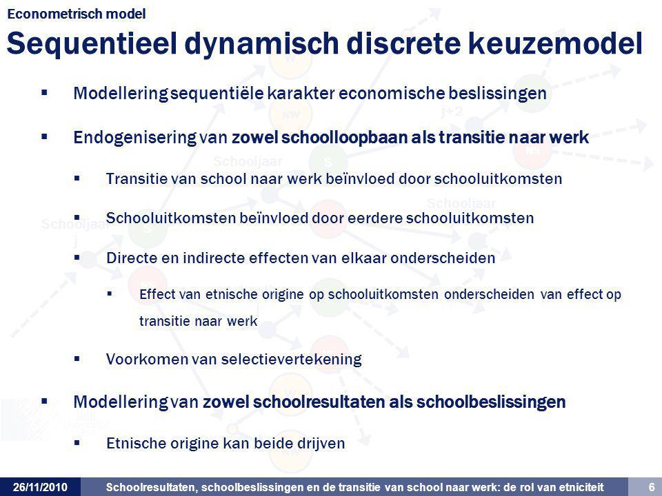 Schoolresultaten, schoolbeslissingen en de transitie van school naar werk: de rol van etniciteit 6 Schooljaar j+1 Schooljaar j Schooljaar j+1 Schoolja