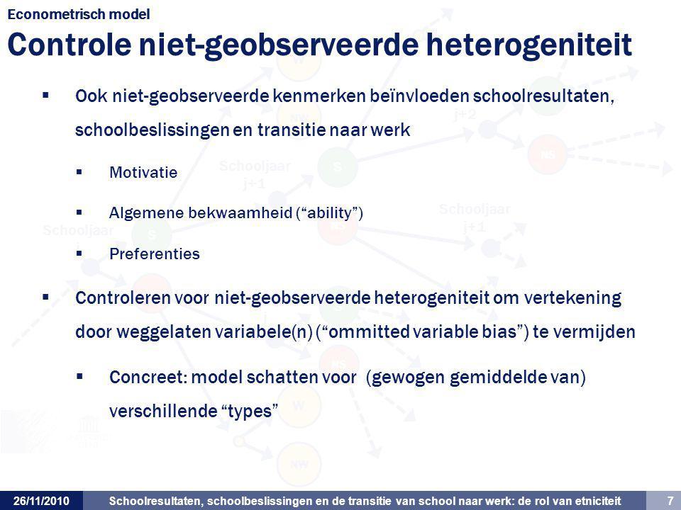 Schoolresultaten, schoolbeslissingen en de transitie van school naar werk: de rol van etniciteit 7 Schooljaar j+1 Schooljaar j Schooljaar j+1 Schoolja