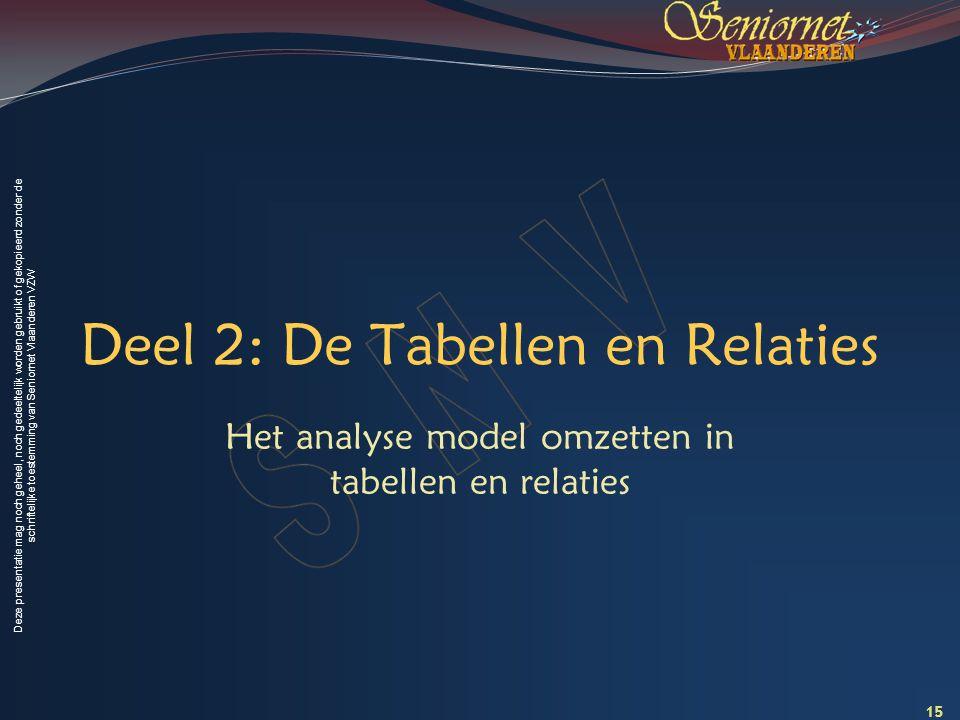 Deze presentatie mag noch geheel, noch gedeeltelijk worden gebruikt of gekopieerd zonder de schriftelijke toestemming van Seniornet Vlaanderen VZW Deel 2: De Tabellen en Relaties Het analyse model omzetten in tabellen en relaties 15