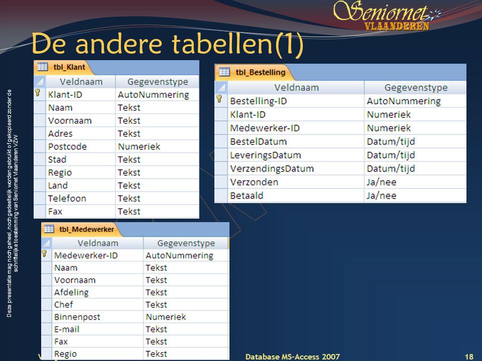 Deze presentatie mag noch geheel, noch gedeeltelijk worden gebruikt of gekopieerd zonder de schriftelijke toestemming van Seniornet Vlaanderen VZW Voorjaar 2009 Database MS-Access 2007 De andere tabellen(1) 18