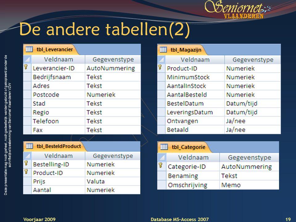 Deze presentatie mag noch geheel, noch gedeeltelijk worden gebruikt of gekopieerd zonder de schriftelijke toestemming van Seniornet Vlaanderen VZW Voorjaar 2009 Database MS-Access 2007 De andere tabellen(2) 19